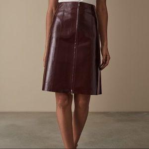Reiss Hanna Oxblood Patent Midi Skirt